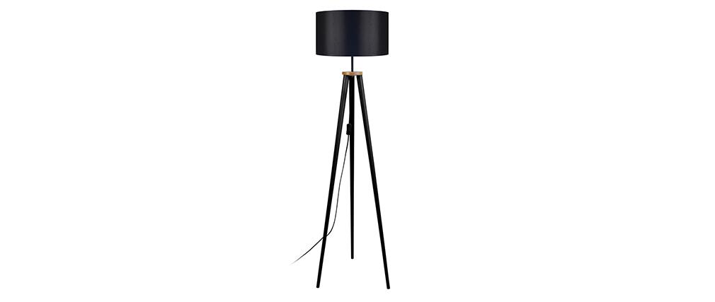 Lámpara de pie diseño trípode madera negra TRIPOD