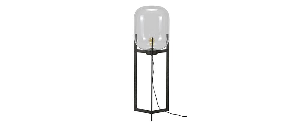Lámpara de pie en metal acabado envejecido y pantalla en cristal HALCYON