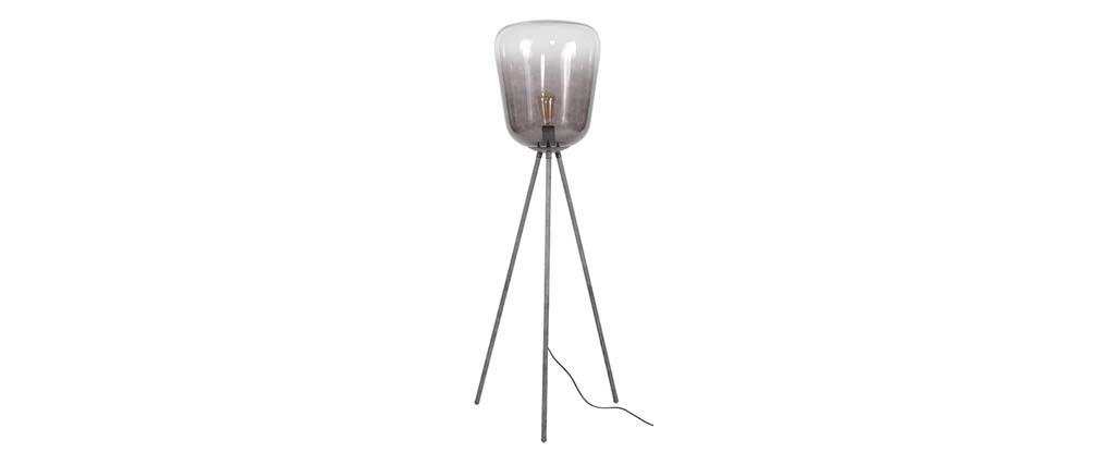 Lámpara de pie en metal acabado envejecido y pantalla en cristal SMOKE