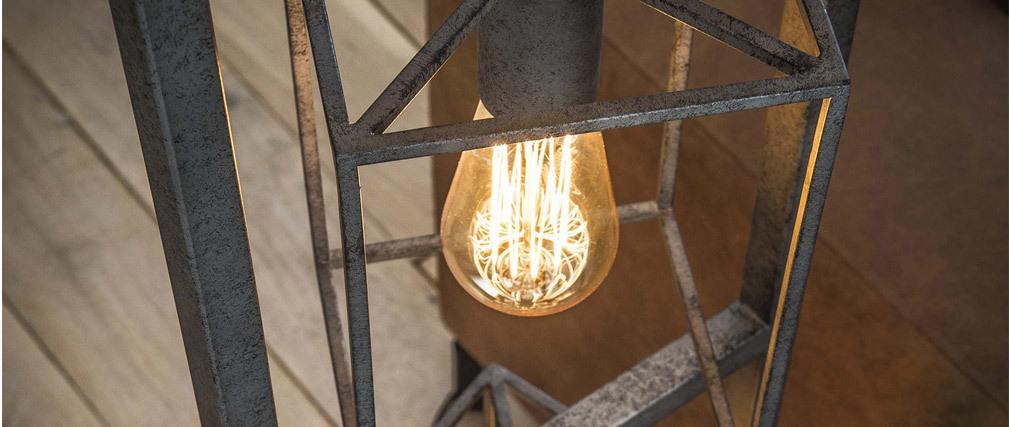 Lámpara de pie en metal envejecido 4 bombillas QUATRO