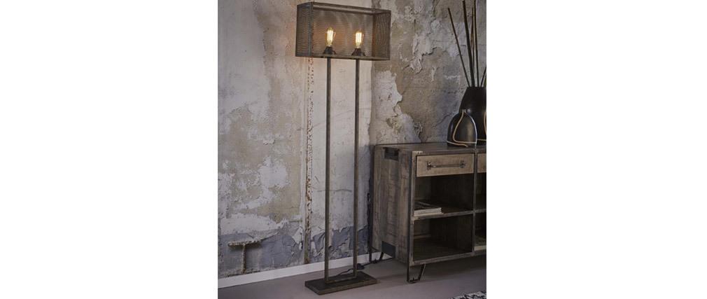 Lámpara de pie en metal envejecido pantalla perforada 2 bombillas GITTER