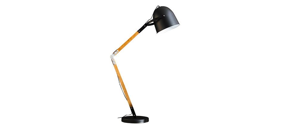 Lámpara de pie en metal negro y madera GABY