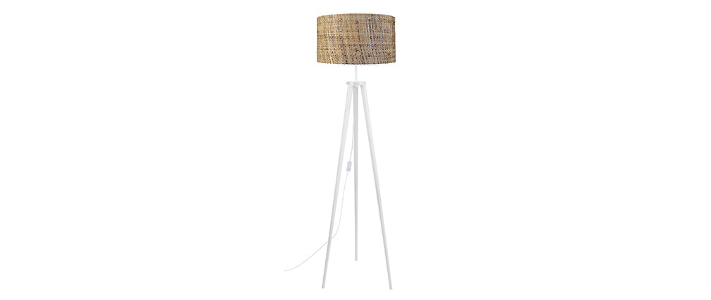 Lámpara de pie en yute y madera maciza blanca JUTA