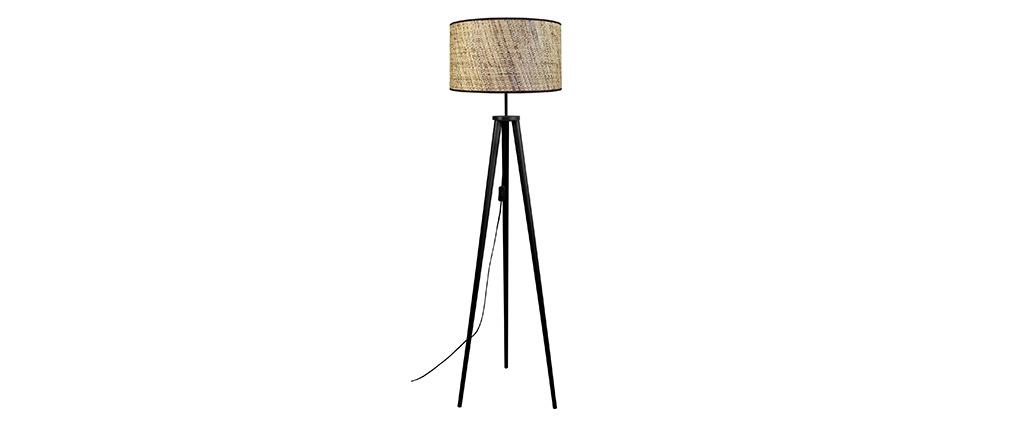 Lámpara de pie en yute y madera maciza negra JUTA