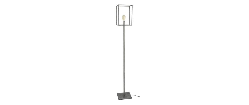 Lámpara de pie industrial en metal acabado envejecido ARCHI