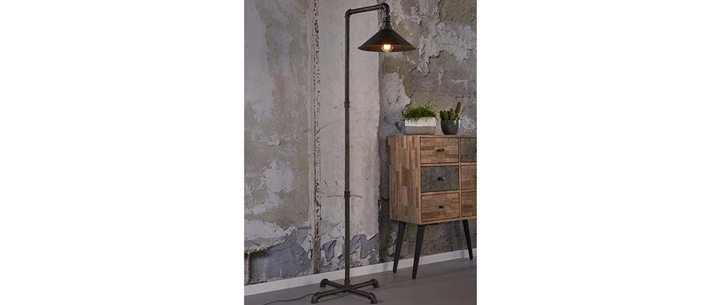 Lámpara de pie industrial en metal acabado  envejecido ELBOW