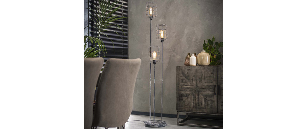 Lámpara de pie industrial metal gris envejecido 3 bombillas LOFT