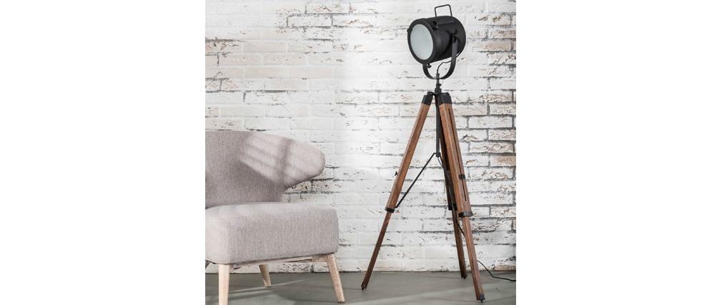 Lámpara de pie industrial trípode madera y metal negro STUDIO