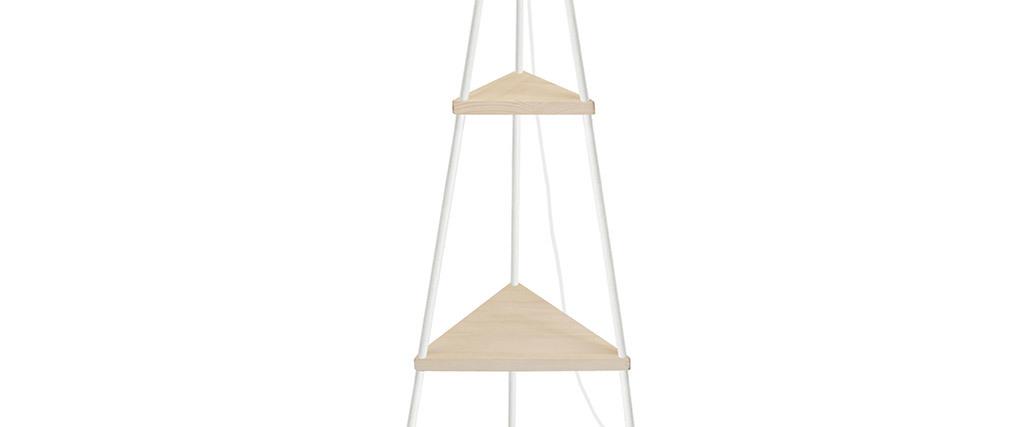 Lámpara de pie metal blanco y madera YIN