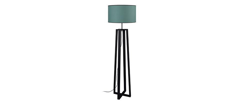 Lámpara de pie moderna pies cruzados madera negra MANON