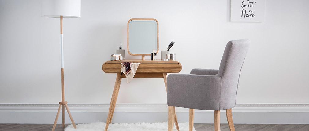 Lámpara de pie moderna trípode madera blanca ELIOT
