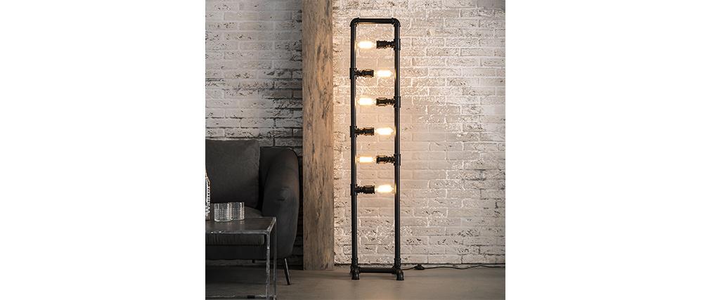 Lámpara de pie tubo industrial en metal 6 bombillas SLANG