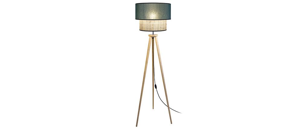 Lámpara de pie yute y tejido azul grisáceo D40 cm CHILL