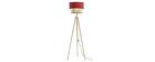 Lámpara de pie yute y tejido granate D40 cm CHILL