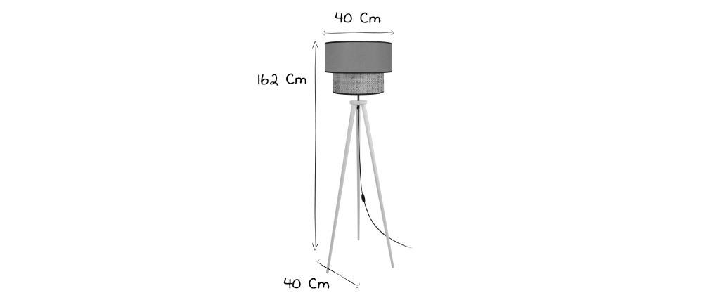 Lámpara de pie yute y tejido kaki D40 cm CHILL
