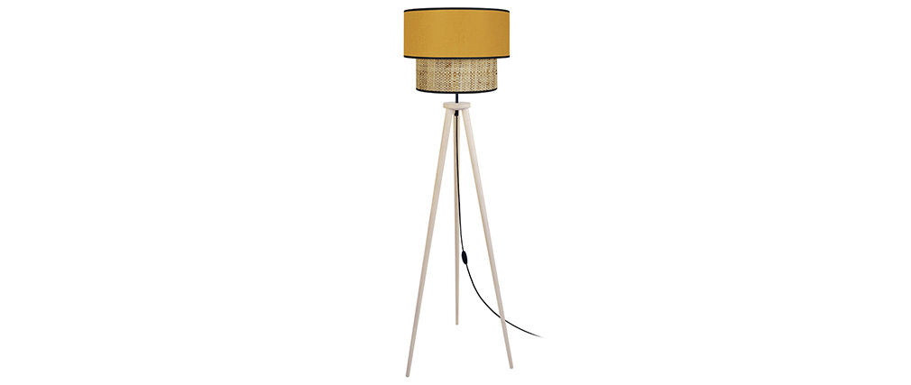Lámpara de pie yute y tejido mostaza D40 cm CHILL