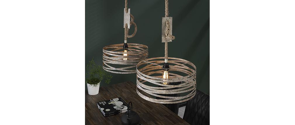 Lámpara de techo 2 bombillas con cuerda en zinc envejecido ROPE