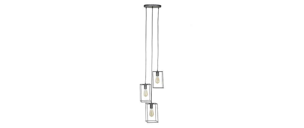 Lámpara de techo 3 bombillas en metal acabado plateado envejecido ARCHI