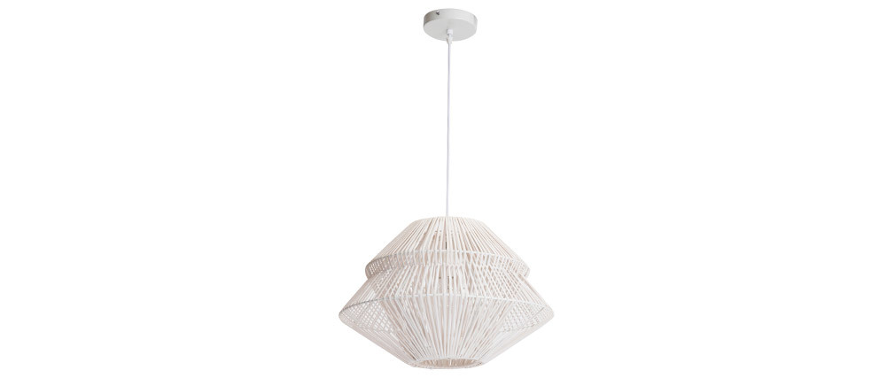 Lámpara de techo bohemia ratán blanco JAKARTA