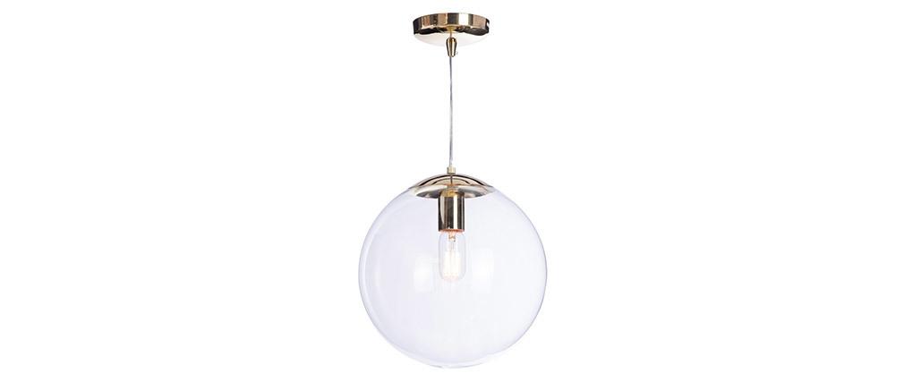 Lámpara de techo cristal transparente y latón GLOBUS