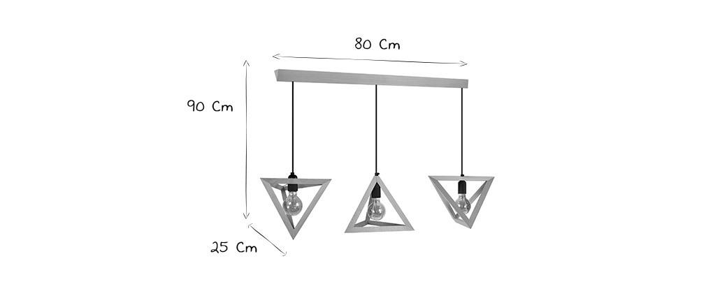 Lámpara de techo en madera 3 bombillas DUNE