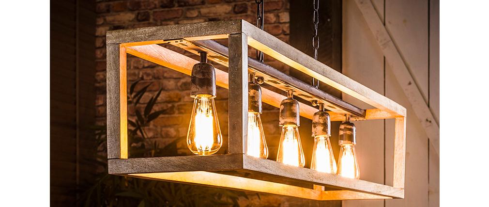 Lámpara de techo en mango 5 bombillas L125 cm BOSCO