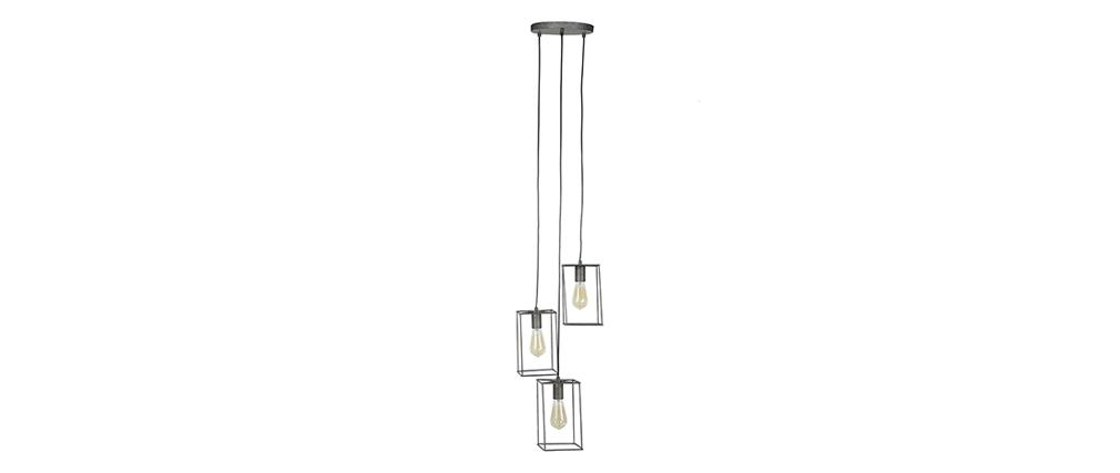 Lámpara de techo industrial 3 bombillas metal envejecido QUATRO
