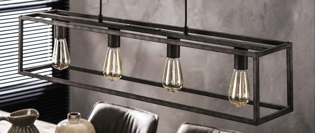 Lámpara de techo industrial 4 bombillas en metal envejecido QUATRO