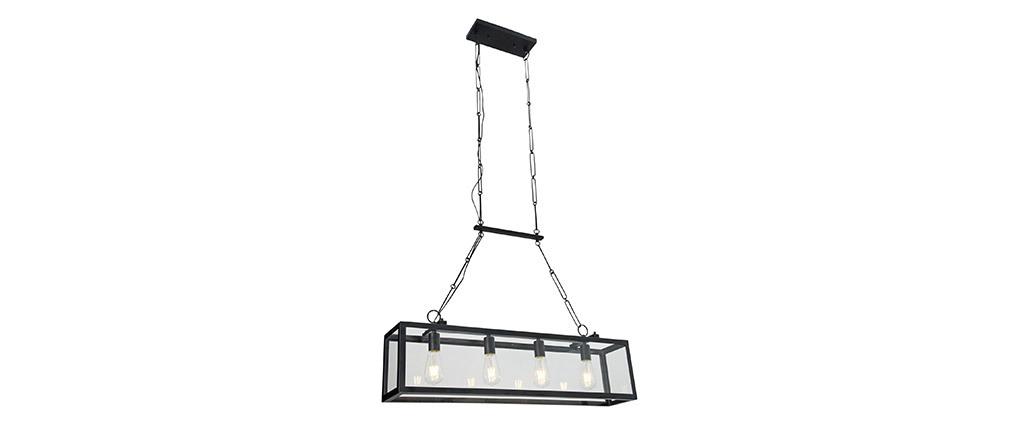 Lámpara de techo industrial 4 bombillas metal negro y cristal GALERIA