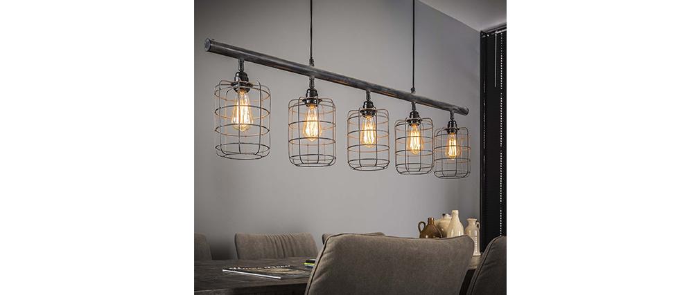 Lámpara de techo industrial 5 bombillas en metal gris LOFT