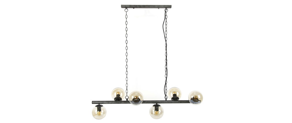 Lámpara de techo industrial 6 esferas en metal envejecido BLOW