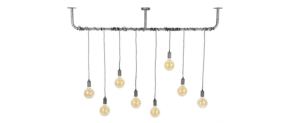 Lámpara de techo industrial metal envejecdio 8 bombillas LIDO