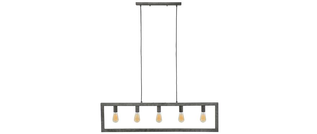 Lámpara de techo industrial metal envejecido 5 bombillas LIDO