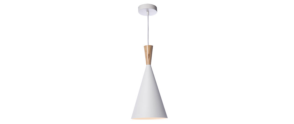 Lámpara de techo metal blanco y madera D19cm JAVA