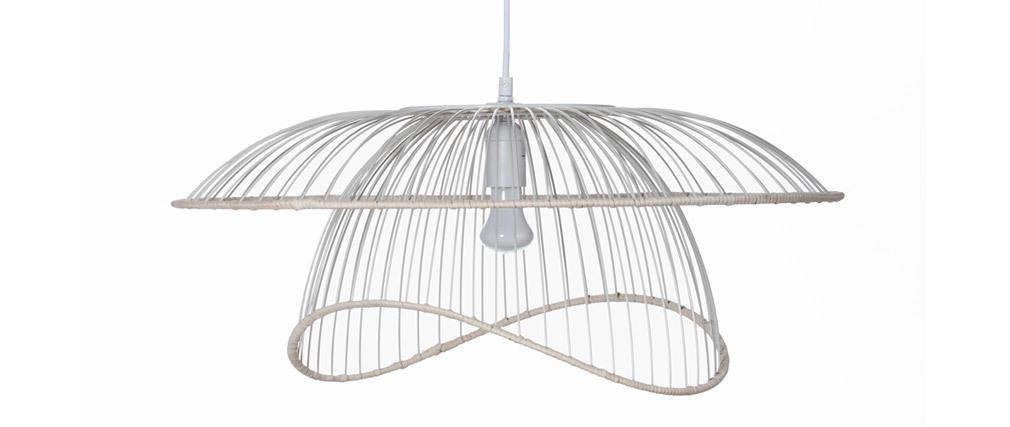 Lámpara de techo metal blanco y ratán STEAM