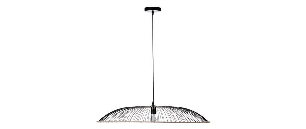 Lámpara de techo metal y ratán D60 cm ARIA