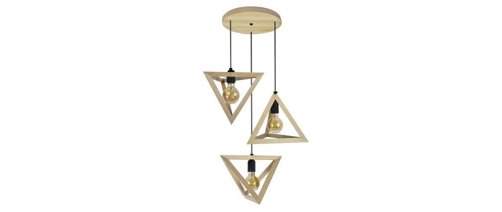 Lámpara de techo pirámide en madera 3 bombillas DUNE
