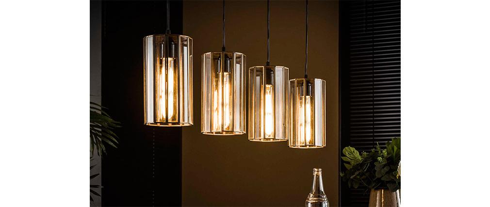 Lámpara industrial 4 bombillas en metal bronce CANOPY