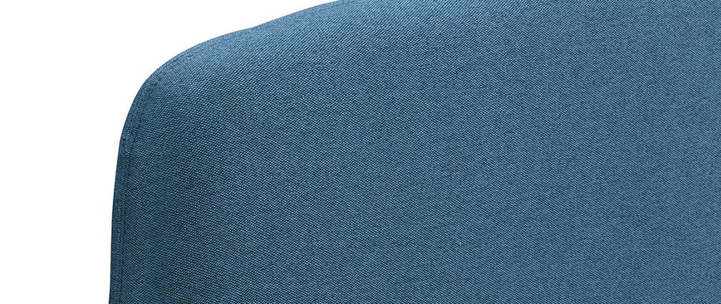 Lit adulte scandinave bleu canard et bois 160 x 200 cm NIELS