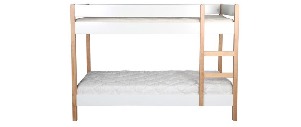 Litera infantil con laterales amovibles madera clara y blanco ALTO