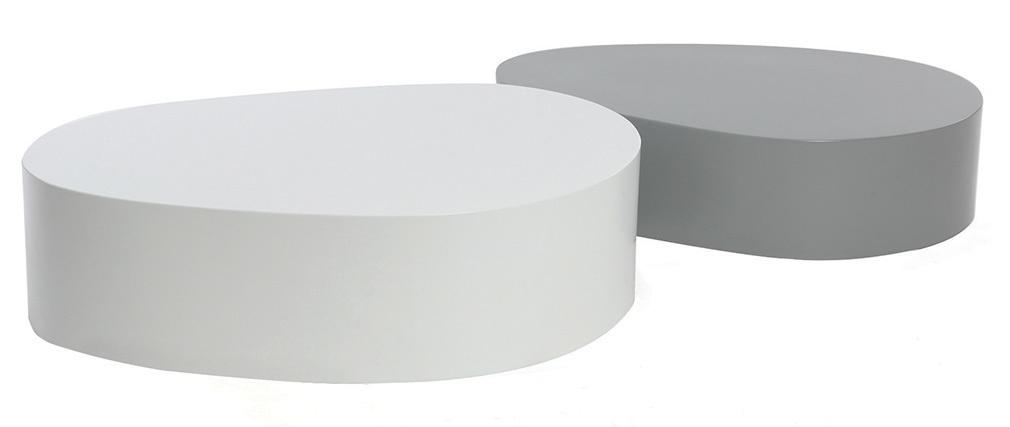 Lote de 2 mesas de centro blaco y gris mate CAMILLE