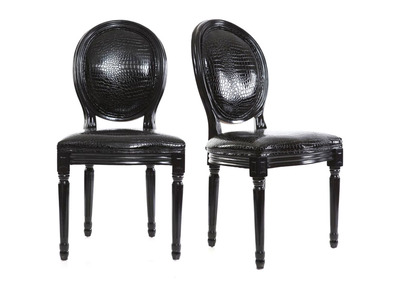 Lote de 2 sillas barrocas Luis XVI negras MEDAILLON