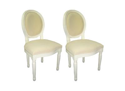 Lote de 2 sillas de cocina / comedor MEDAILLON - color blanco