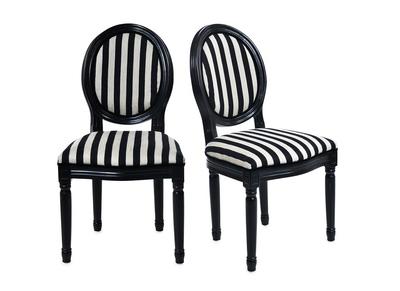 Lote de 2 sillas de cocina / comedor MEDAILLON con rayas blanco y negro