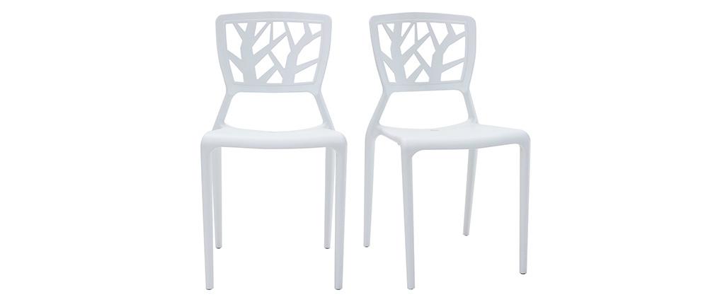 Lote de 2 sillas de diseño blancas KATIA