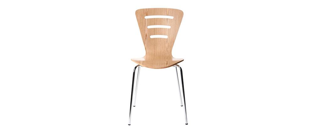 Lote de 2 sillas de diseño color madera natural oscura LENA