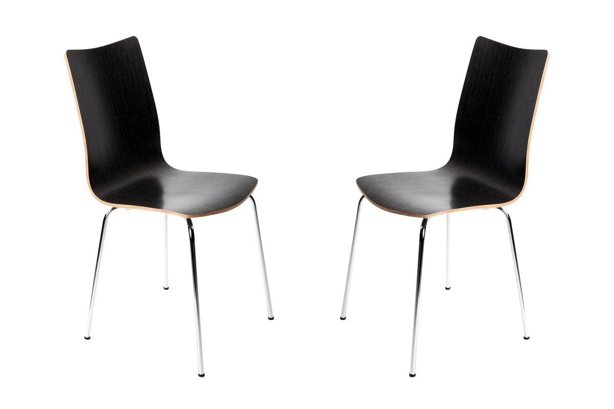 Lote de 2 sillas de diseño color negro ELLA