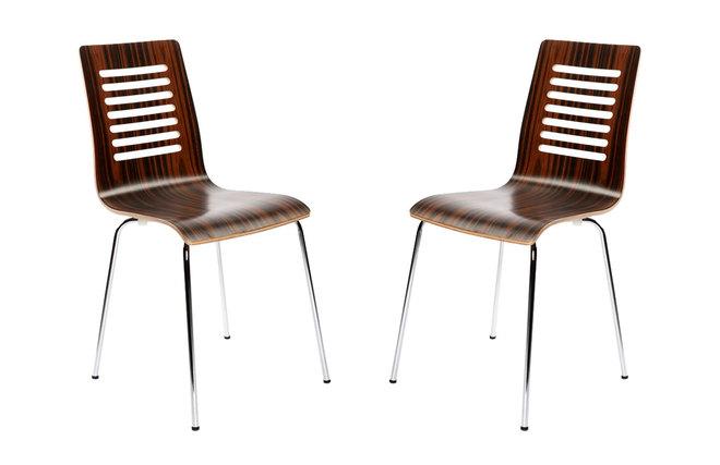Lote de 2 sillas de dise o de madera color chocolate y for Muebles la zenia