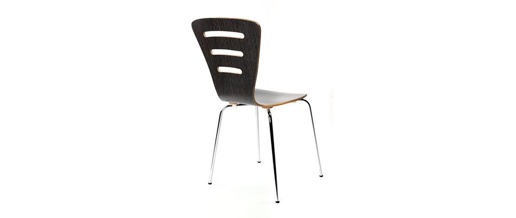 Lote de 2 sillas de diseño de madera color negro LENA