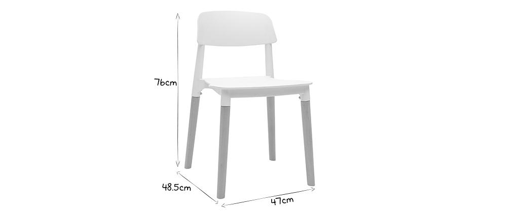 Lote de 2 sillas de diseño escandinavo blancas GILDA